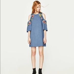 NWT Zara Floral Embroidered Cold Shoulder Dress
